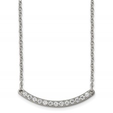 Titanium Polished with CZ Bar 20.5in Necklace