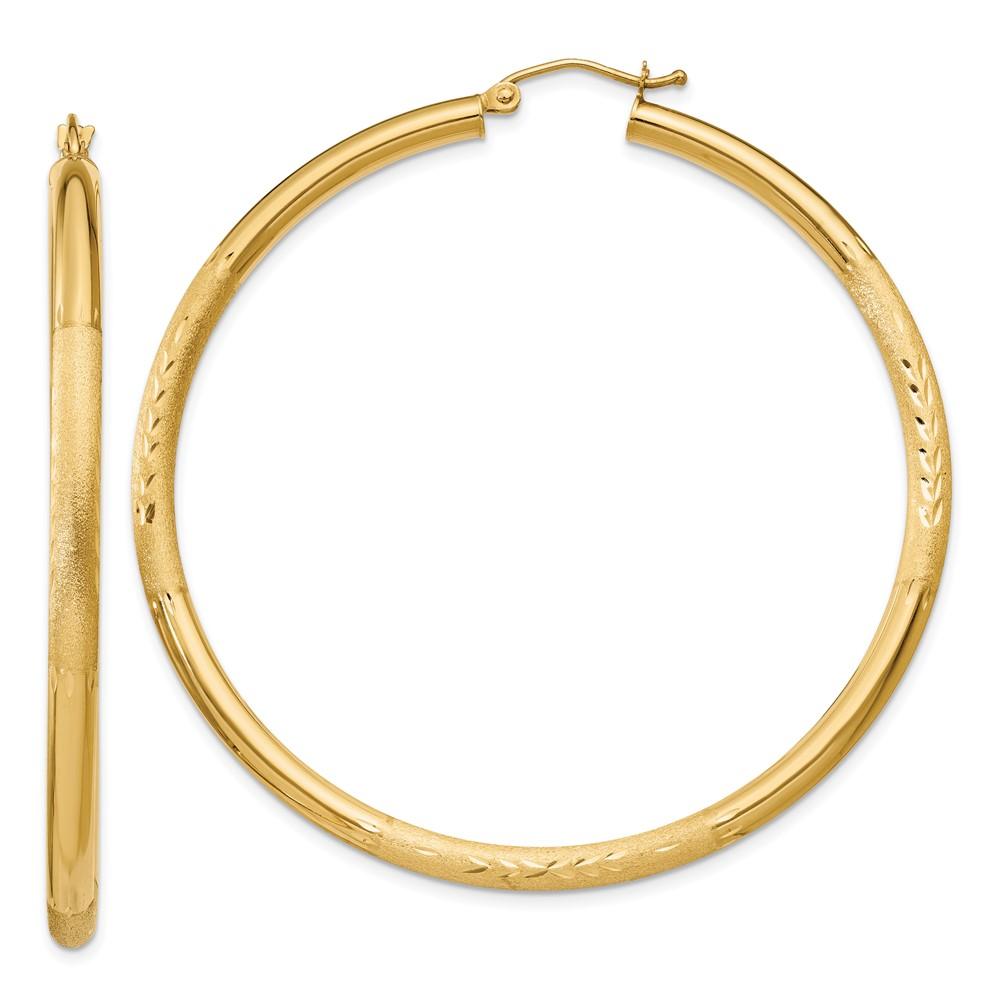 14k Yellow gold Polished 3mm Satin & Diamond-cut Round Hoop Earrings