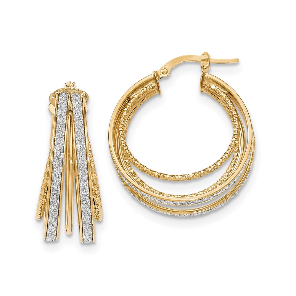JewelryPot 14k Yellow Gold Polished Glitter Infused Round Hoop Earrings