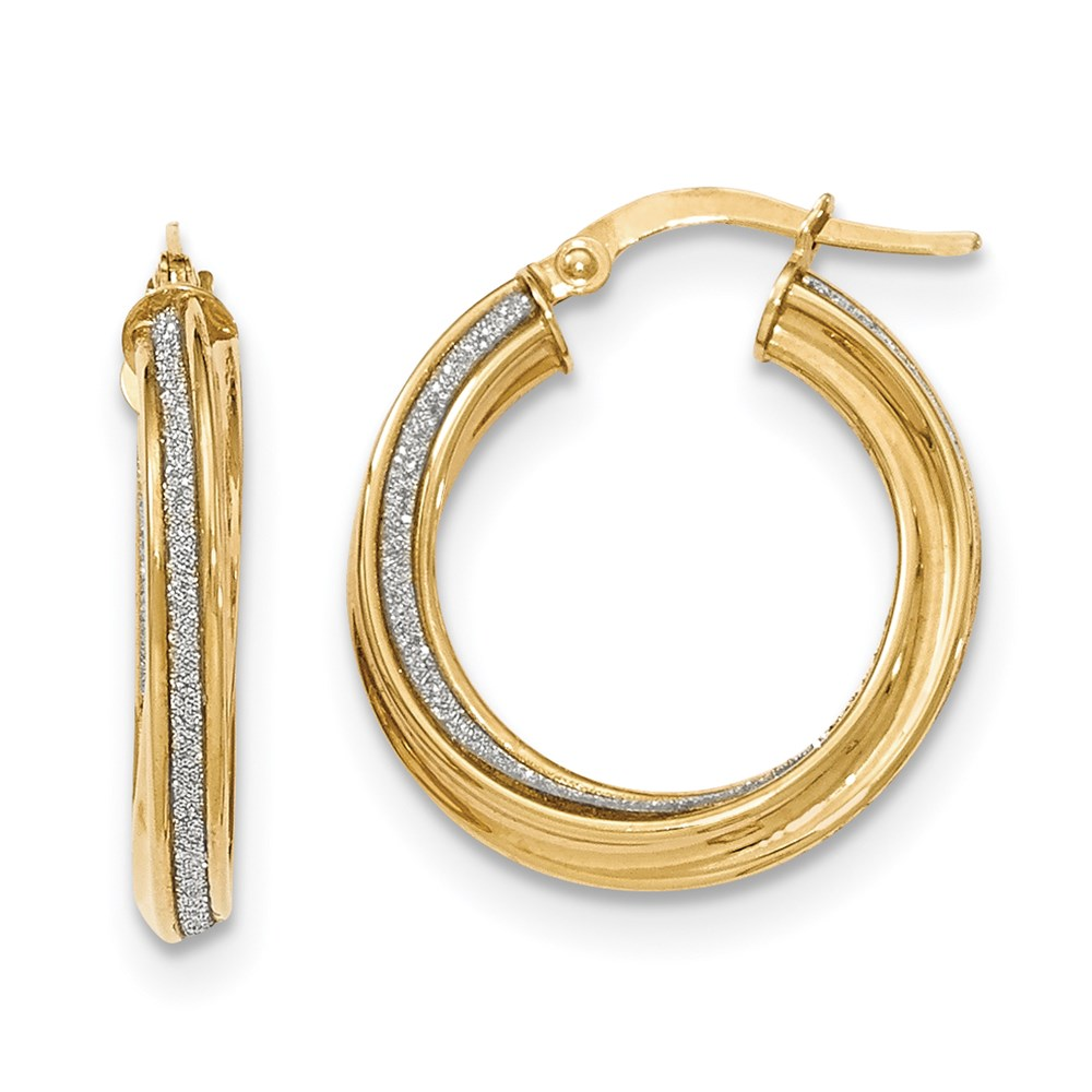 JewelryPot 14k Yellow Gold Polished Glitter Infused Twisted Small Round Hoop Earrings