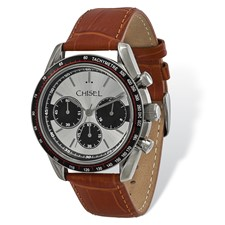 Mens Chisel Stainless Steel Brown Leather Chronograph Watch