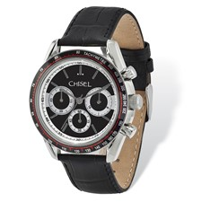 Mens Chisel Stainless Steel Black Leather Chronograph Watch