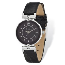 Ladies Chisel Black Dial Black Leather Watch