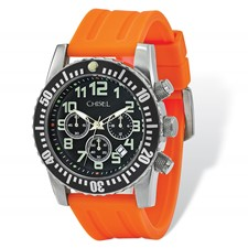 Mens Chisel Black Dial Orange Silicone Strap Chronograph Watch