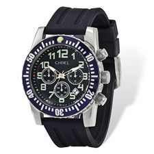 Mens Chisel Black Dial & Silicone Strap Chronograph Watch