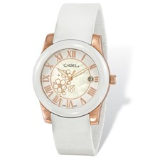 Ladies Chisel Rose IP-plated Floral Dial White Strap Watch