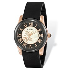 Ladies Chisel Rose IP-plated Floral Dial Black Strap Watch