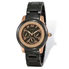 Ladies Chisel Rose IP-plated Black Dial Watch