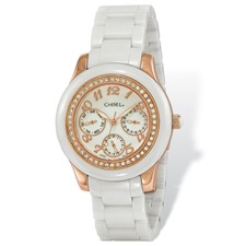 Ladies Chisel Rose IP-plated White Dial Watch