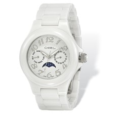 Ladies Chisel White Ceramic White Dial Watch