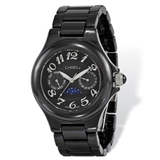 Ladies Chisel Black Ceramic Black Dial Watch