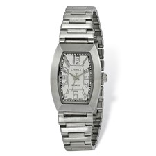 Ladies Chisel Stainless Steel White Tonneau Dial Watch