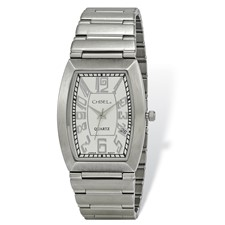 Mens Chisel Stainless Steel White Tonneau Dial Watch