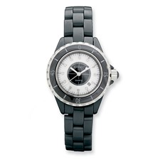 Ladies Chisel Black Ceramic/Black & White Dial Watch