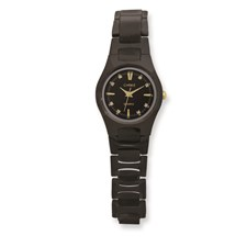 Chisel Ladies Chisel Black IP-plated Tungsten Black Dial Watch