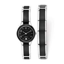 Ladies Chisel Ceramic & Stainless Steel Black Dial Watch & Bracelet