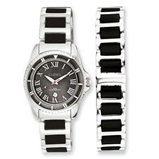 Ladies Chisel Ceramic & Stainless Steel Black Dial Watch & 7.5in Bracelet S