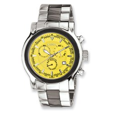 Men Chisel Stainless Steel Swiss Quartz Chrono w/ Yellow Dial Watch
