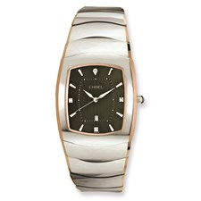 Chisel Mens Tungsten with Rose Gold Pated Edge Gray Dial Watch