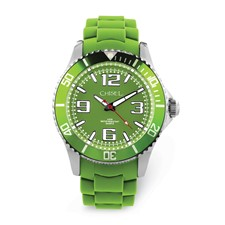 Men's Chisel 44mm Green Silicone Strap Watch