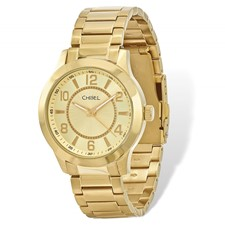 77056d3cb703 Mens Chisel IP-plated Stainless Steel Gold Dial Watch