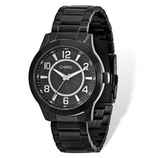 Mens Chisel Black IP-plated Stainless Steel Black Dial Watch