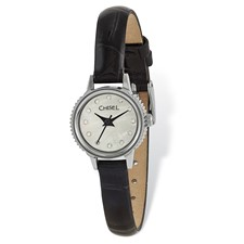 Ladies Chisel Stainless Steel Black Leather Strap Watch