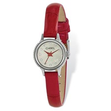 Ladies Chisel Stainless Steel Red Leather Strap Watch