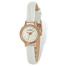Ladies Chisel Rose IP-pltd Stainless Steel Wht Lthr Strap Watch