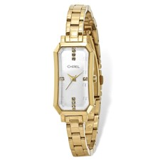 Ladies Chisel IP-plated Stainless Steel Silver Dial Watch