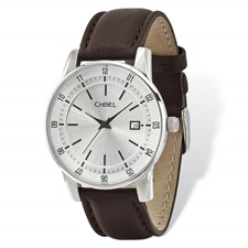 2cf630105476 Mens Chisel Stainless Steel Silver Dial Brown Leather Watch