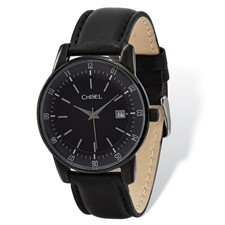 Mens Chisel Black IP-plated Stainless Silver Dial Blk Lthr Watch