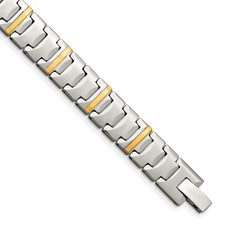 Tungsten with 14k Polished Link Bracelet