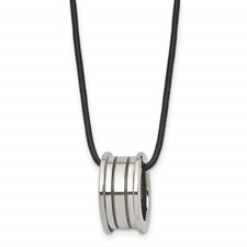 Chisel Tungsten Polished Leather Cord Necklace