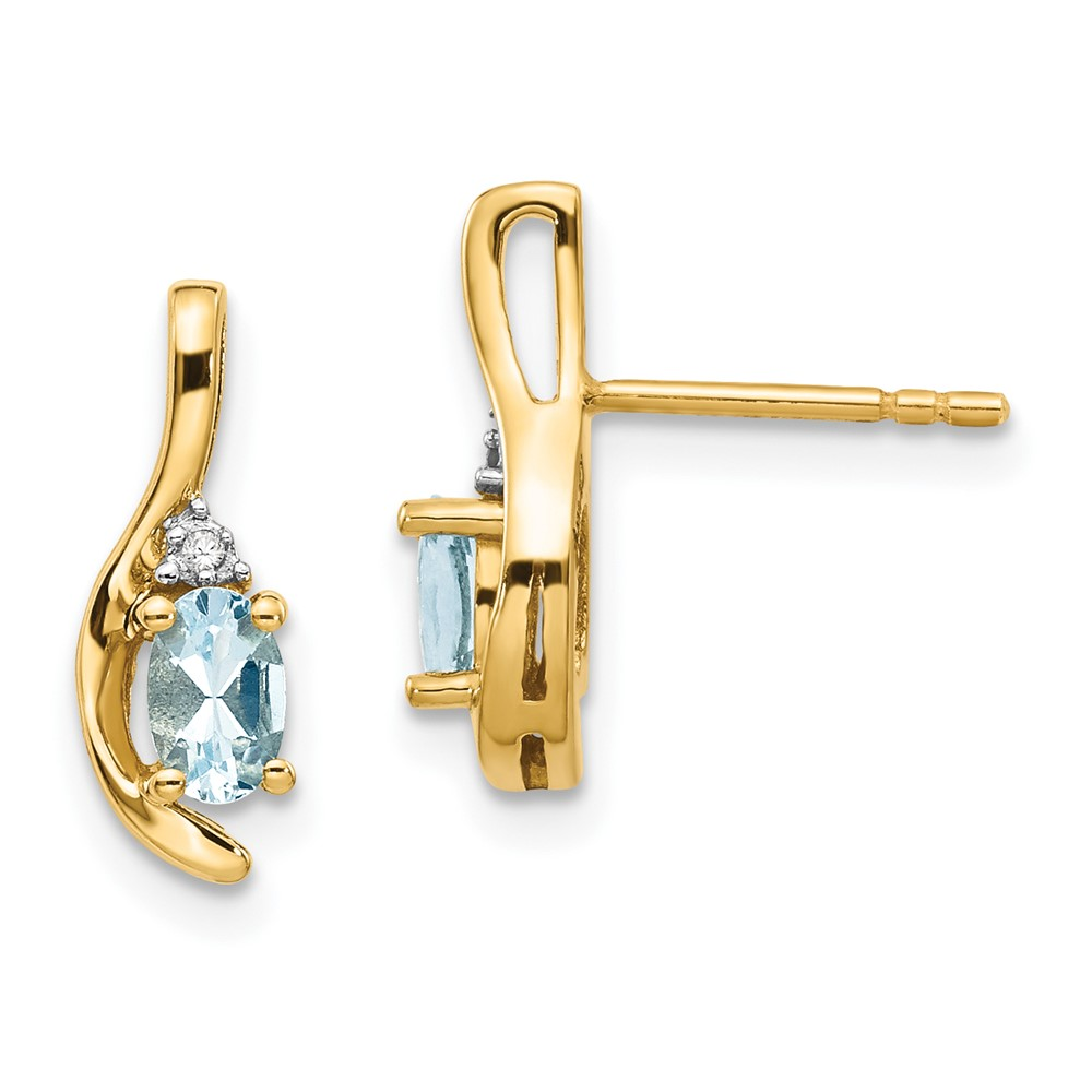 Details About 14k Yellow Gold Diamond Aquamarine Earrings Xbs415
