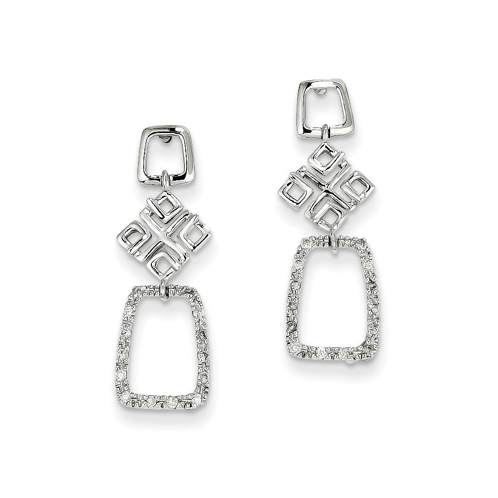 JewelryPot 14K White Gold & Diamond Dangle Post Earrings. Carat Wt- 0.14ct (0.9IN x 0.3IN)