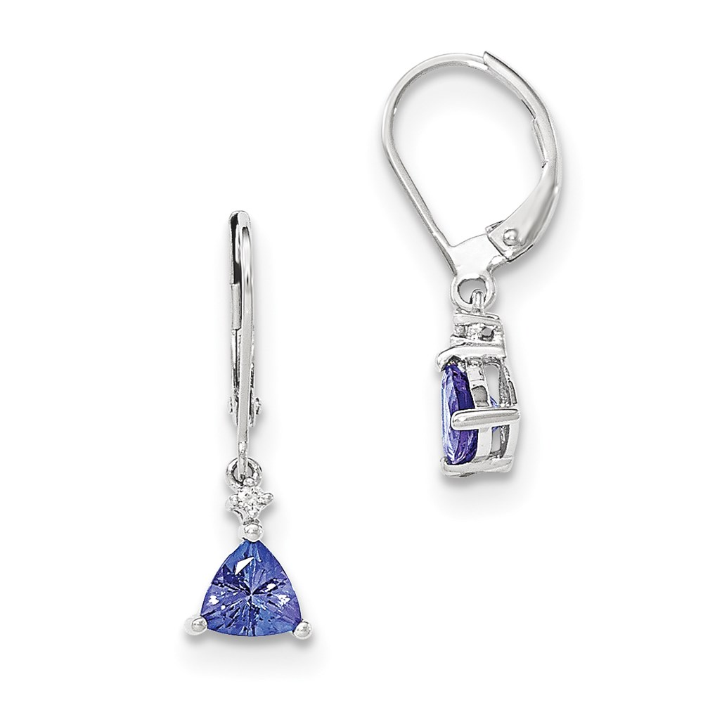 JewelryPot 14k White Gold Trillion Tanzanite & Diamond Leverback Earrings