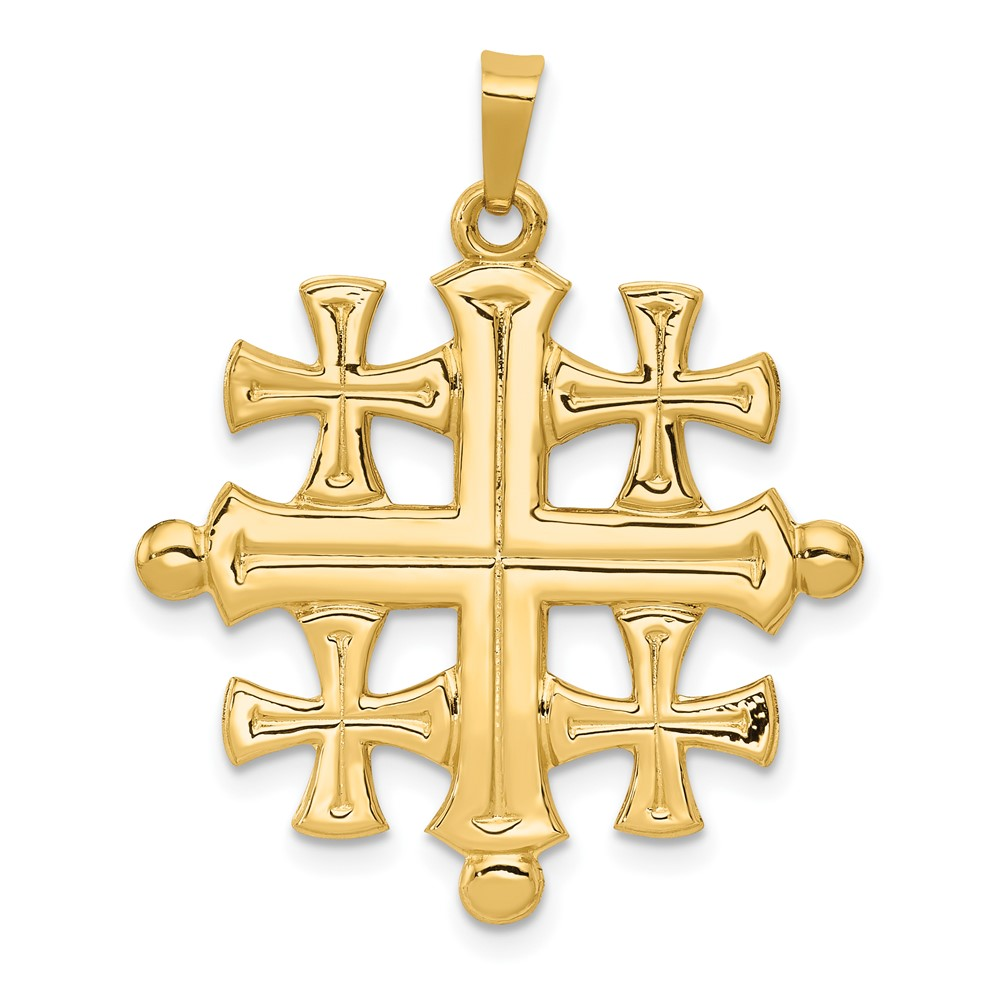 14k yellow gold polished jerusalem cross pendant ebay