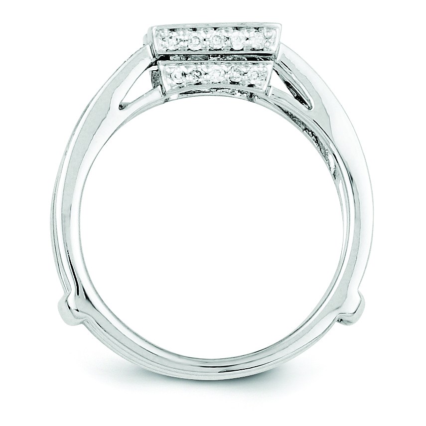 14k white gold black white polished ring guard