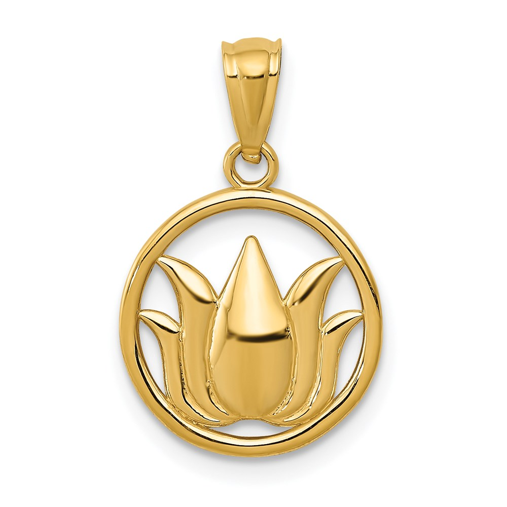 14k yellow gold polished lotus flower in circle pendant ebay for What is gold polished jewelry