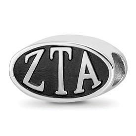 Sterling Silver Logoart Zeta Tau Alpha Oval Letters Bead