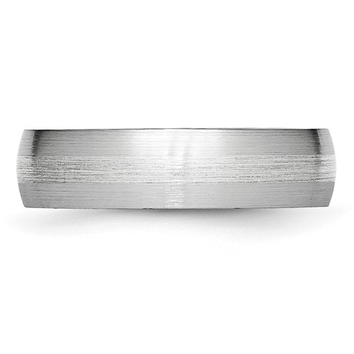 Chisel Cobalt Chromium Sterling Silver Inlay Satin 6mm Band