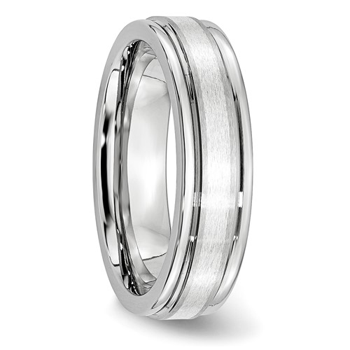 Chisel Cobalt Chromium Sterling Silver Inlay Satin and Polished 6mm Band