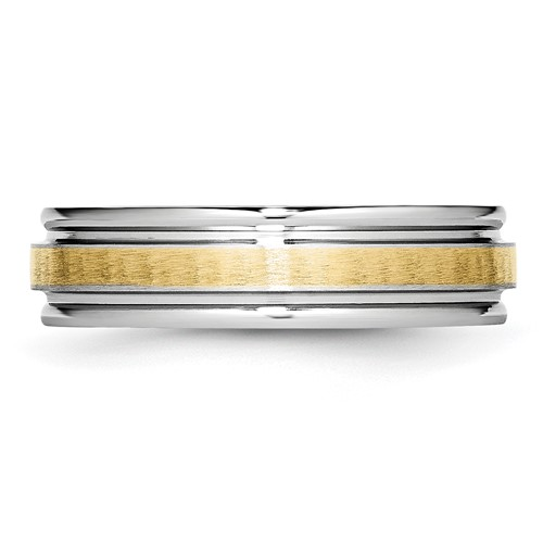 Chisel Cobalt Chromium 14k Gold Inlay Satin and Polished 6mm Band
