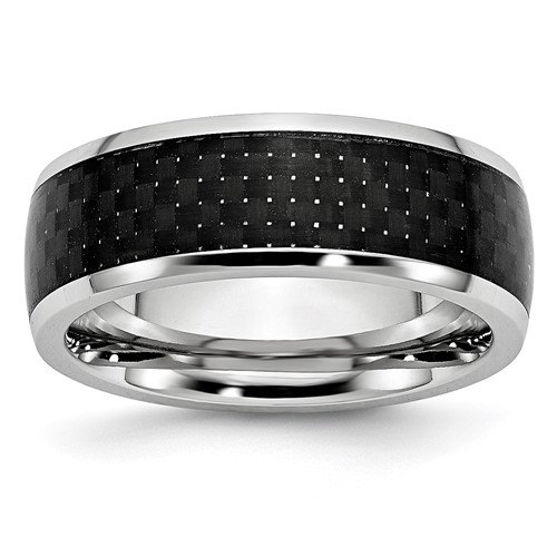 Cobalt Black Carbon Fiber Inlay 8mm Polished Band