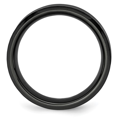 Chisel Ceramic Black Faceted 8mm Polished Band
