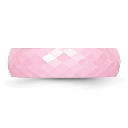 Chisel Ceramic Pink Faceted 6mm Polished Band