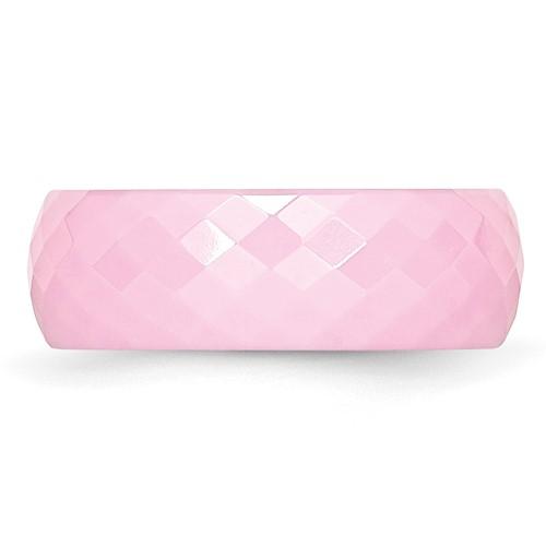 Chisel Ceramic Pink Faceted 7mm Polished Band