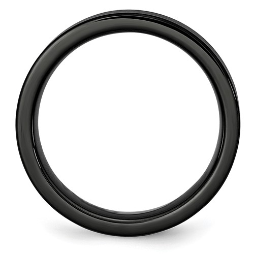 Chisel Black Ceramic Flat 6mm Brushed Band