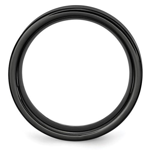 Chisel Black Ceramic Flat 8mm Brushed Band Chisel